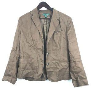 Ralph Lauren linen blazer coat jacket 12 wrinkled